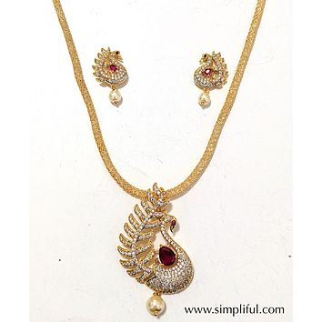 Single Peacock CZ stone Pendant Necklace and Earring