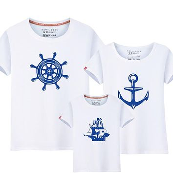1Piece Summer Family Matching Anchor T-Shirts