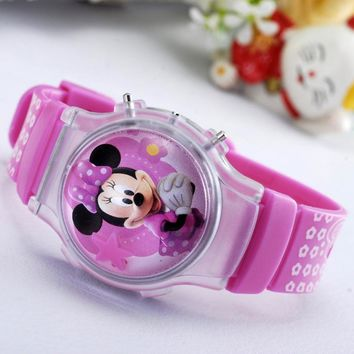 2016 new fashion boys girls silicone digital watches for kids mickey minnie cartoon watch for children christmas gift clock
