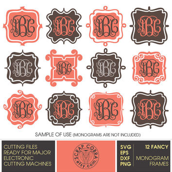 Fancy Monogram Frames (SVG, eps, DXF, PNG) Digital Cut Files for Silhouette, Cricuit electronic cutting machines, embroidery - cv-435