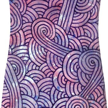 Purple swirls doodles Simple Dress