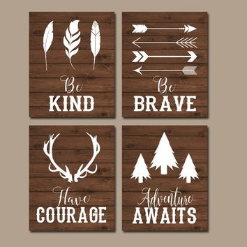 WOODLAND QUOTE Wall Art, Woodland Nursery Decor,CANVAS or Print, Rustic Nursery Decor, Be Brave Be Kind Have Courage, Tribal Quotes,Set of 4