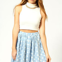 Isla Button Front Chambray Skater Skirt