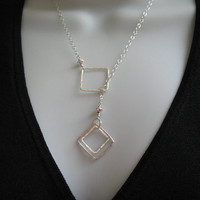 Sterling Silver Lariat Necklace Geometric Jewelry Squares