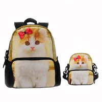 CrazyPomelo Lovely 3D Bowknot Persian Cat Backpack Parent-child bag 3-Piece Suit