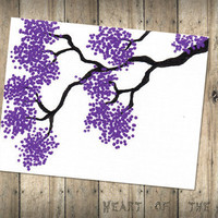 Handpainted Greeting Card ORIGINAL lilac tree by Heartoftheoak
