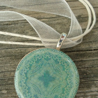 Antiqued Teal Blue : A pendant charm necklace made from a wood circle