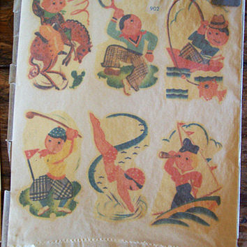 vintage Meyercord decal lot retro 1950's kitchen kitsch vintage fish swans tulips pin up