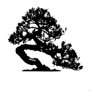 Japanese Bonsia Tree Vinyl Design, Asian Art -Vinyl Decal - Wall Art
