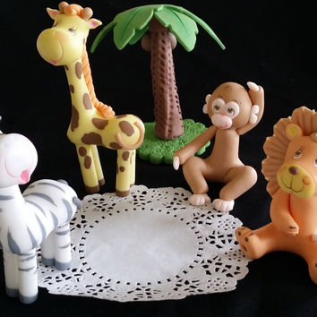 Jungle Animals set Cake Topper, Jungle Party Decorations, Jungle Baby Animals Shower Cake Topper, Safari Birthday, Jungle Decoration, Baby Animal Decorations, Jungle Favor
