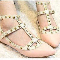 Fashion Lady's Pink Punk Point Toe Metal Studded Ankle Strap Flats Causal Shoes
