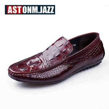 Men's Casual Genuine Leather With Crocodile Skin Men's Slip-on The Penny Loafers Men Velvet Dress Shoes Mens Fashion Moccasins