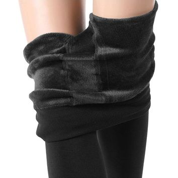New Fashion Women's Winter Warm Knitted Wool Black Leggings High Elastic Pilling Resistance 400g thick+