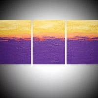 """ARTFINDER: triptych 3 panel wall art impasto textured """" Purple Flats """" orange yellow 3 panel canvas wall abstract canvas pop abstraction 48 x 20 """" other sizes available by Stuart Wright - triptych abstract painting, 3 piece canvas art ..."""