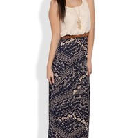 Long Dress with Crochet Lace Bodice and Tribal Print Skirt