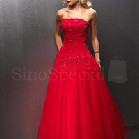 WowDresses — Strapless Beaded Red Tulle Ball Gown Prom Dress/Evening Dress