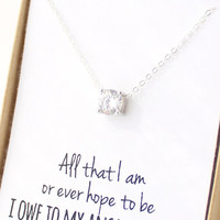 Solitaire Necklace - Cubic Zirconia Necklace - CZ Diamond Necklace - Mother In Law Gift - Small Circle Pendant Necklace - Mother's Day Gift