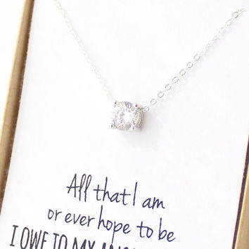 Solitaire necklace cubic zirconia from powderandjade on etsy solitaire necklace cubic zirconia necklace cz diamond necklace mother in law gif aloadofball Gallery