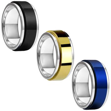 BodyJ4You 3PC Ring Set Spinner Bands Men Women Black Blue Goldtone Size 8-12 Steel Promise Gift