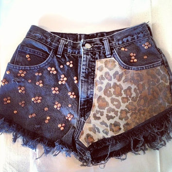 Levis high waist denim shorts super frayed with Leopard print and studs size Sm