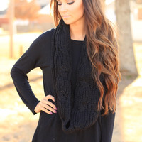 The Black Cable Knit Scarf