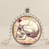 """Skull necklace, Halloween, 1"""" glass and metal Pendant necklace Jewelry."""