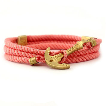 Anchor Bracelet Women / Coral Bracelet / MARITIME Collection / Wrap Bracelet / Sea Bracelet / Rope Bracelet / Wooden Box / Adjustable Size