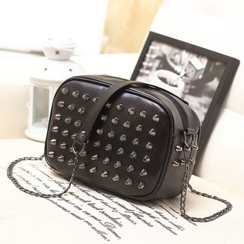 Free ship ! New 2014 fashion women's handbag candy color rivet chain bag shoulder bag women's neon color small bag