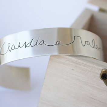 Personalized Bracelet Sterling Silver Engraved With The Handwriting Of Your Children