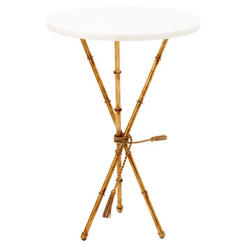 Faulkner Accent Table, White/Gold, Standard Side Tables