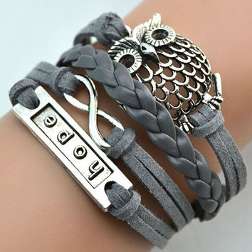 Men Women's fashion jewelry Multilayer Infinity Owl Charm Handmade Leather Knitting Bracelet xokx lovely Style (Size: One Size, Color: Grey) = 1932799684
