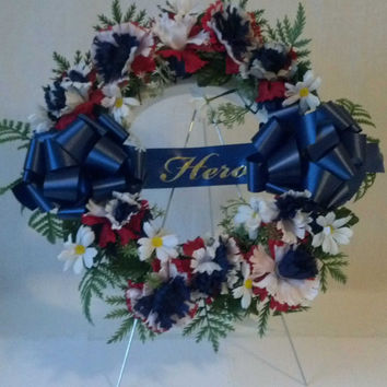 Red White and Blue Hero Wreath for Veterans - 16 Inch