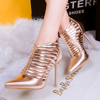 Trendy Cage Point Toe Ankle High Heels
