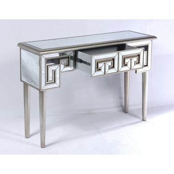 Theon Mirror and Champagne Console Table