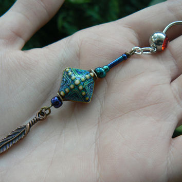 Mood belly ring color changing peacock beads feathers in belly dancer indie gypsy hippie moroccan boho and hipster style