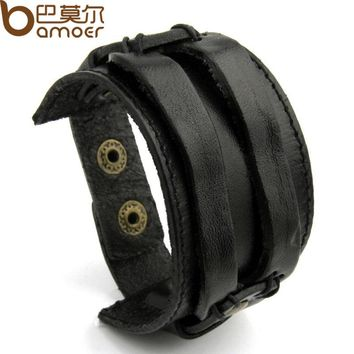 BAMOER Real Leather Cuff Double Wide Bracelet