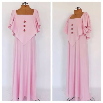 Vintage 1970s Pink Prom Dress Cape Sleeve Size medium Large Long Prom Gown 70s Fairy Gown Medieval Renaissance Queen Maxi Gown Cape Dress