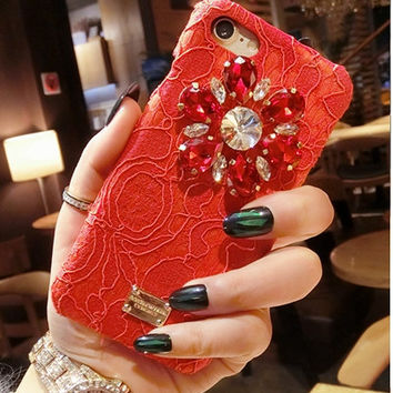 2017 Italy Rhinestone Case Promotion Luxury Diamond Flower Lace Phone Case hard Cover For iPhone 7 7plus Rainbow Lace Crystal Cases -0405