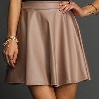 Sale-taupe Faux Leather Skater Skirt