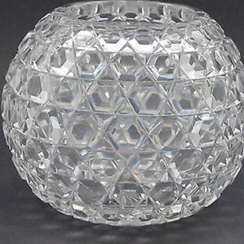 ABP cut glass rose bowl Hexagon diamond,   Antique crystal