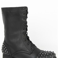 mid height combat boot with spiked studs and lace up front