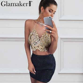 Glamaker Embroidery transparent camisole tank top Women summer sexy crop top Lace up backless gold party top hollow out cami