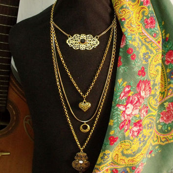 Portuguese Viana heart folk jewelry necklace filigree