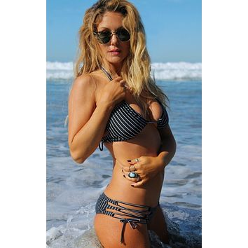 Santa Cruz Strappy Side Bikini Bottom - Pinstripe