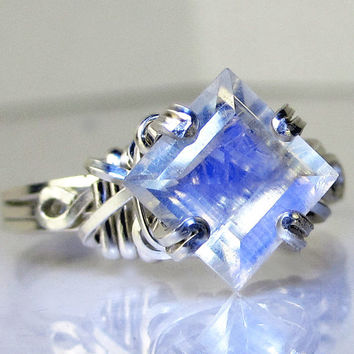Princess Cut Rainbow Moonstone Ring Polished Sterling Silver by Passionate Jewelry on Etsy