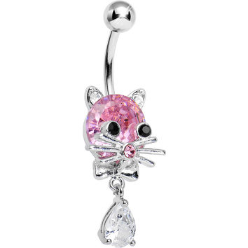 Pink Gem Sophisticated Kitty Cat Dangle Belly Ring