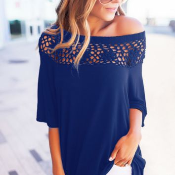 New fashion hollow lace stitching T-shirt shirt shirt women's clothing blue top