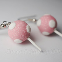 Pink Cake Pop Earrings, Miniature Food Jewelry, Polymer Clay Food Earrings, Surgical Steel Earrings