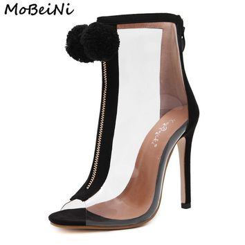 Women High Heel Peep Toe Transparent Clear Ankle Boots