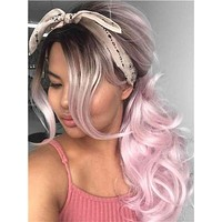 Long Dusty Rose Light Pink Wave Synthetic Lace Front Wig